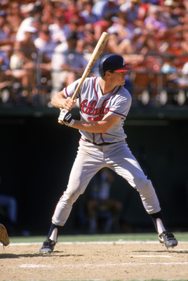 SAN DIEGO - 1987:  Dale Murphy #3 of the Atlanta Braves stands ready at the plate during a game with the San Diego Padres in 1987 at Jack Murphy Stadium in San Diego, California.  (Photo by Stephen Dunn/Getty Images)