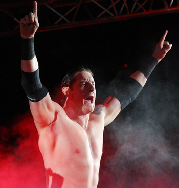 DURBAN, SOUTH AFRICA - JULY 08:  WWE Superstar Wade Barrett is introduced during the WWE Smackdown Live Tour at Westridge Park Tennis Stadium on July 08, 2011 in Durban, South Africa.  (Photo by Steve Haag/Gallo Images/Getty Images)