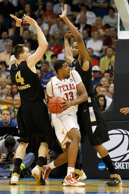 TULSA, OK - MARCH 18:  Tristan Thompson #13 of the Texas Longhorns looks to take a shot against the Oakland Golden Grizzlies during the second round of the 2011 NCAA men's basketball tournament at BOK Center on March 18, 2011 in Tulsa, Oklahoma.  (Photo b