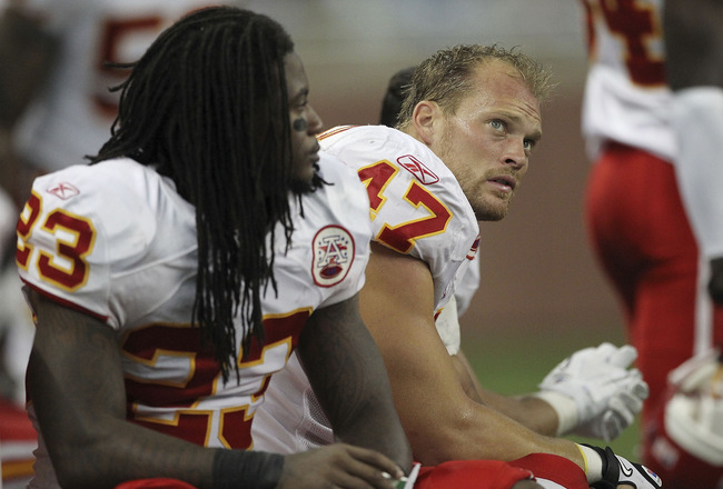 DETROIT, MI - SEPTEMBER 18: Kendrick Lewis #23 and Jon McGraw #47 of the Kansas City Chiefs watch the action from the bench during the fourth quarter of the game against the Detroit Lions at Ford Field on September 18, 2011 in Detroit, Michigan. The Lions