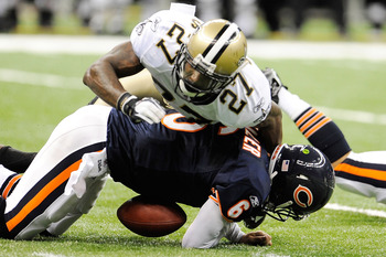 NEW ORLEANS, LA - SEPTEMBER 18:  Malcolm Jenkins #27 of the New Orleans Saints sacks Jay Cutler #6 of the Chicago Bears at the Louisiana Superdome on September 18, 2011 in New Orleans, Louisiana.  The Saints defeated the Bears 30-13.  (Photo by Stacy Reve