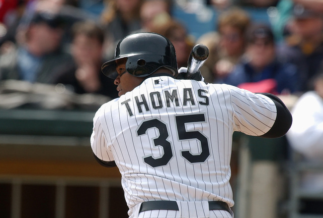 CHICAGO - APRIL 13:  Designated hitter Frank Thomas #35 of the Chicago White Sox waits for a Kansas City Royals pitch during the game at U.S. Cellular Field on April 13, 2004 in Chicago, Illinois. The White Sox defeated the Royals 12-5. (Photo by Jonathan
