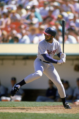 OAKLAND, CA - 1989:  Harold Baines #3 of the Chicago White Sox steps into the swing during a 1989 season game against the Oakland Athletics at Oakland-Alameda County Coliseum in Oakland, California. (Photo by Otto Greule Jr/Getty Images)