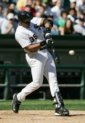 CHICAGO - MAY 30:  Frank Thomas #35 of the Chicago White Sox hits the ball foul in his second at-bat against the Los Angeles Angels of Anaheim on May 30, 2005 at U.S. Cellular Field in Chicago, Illinois. The White Sox defeated the Angels 5-4.  (Photo by J