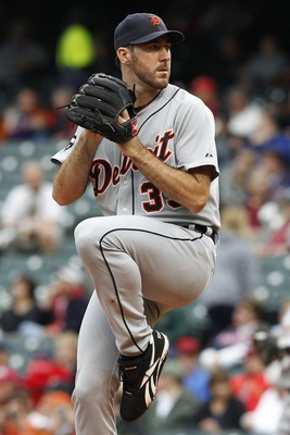 CLEVELAND, OH - SEPTEMBER 7:   Justin Verlander #35 of the Detroit Tigers pitches against the Cleveland Indians during the second inning of their game on September 7, 2011 at Progressive Field in Cleveland, Ohio.  The Tigers defeated the Indians 8-6.   (P