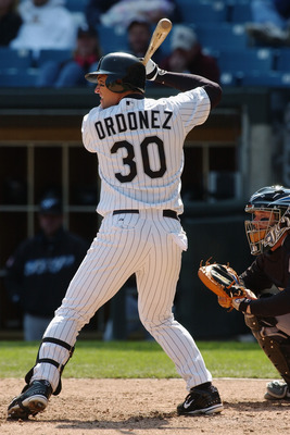 CHICAGO - MAY 2:  Right fielder Magglio Ordonez #30 of the Chicago White Sox at bat during the game against the Toronto Blue Jays on May 2, 2004 at U.S. Cellular Field in Chicago, Illinois. The White Sox defeated the Blue Jays 3-2. (Photo by Jonathan Dani