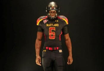 Linebacker Kenny Tate models the uniforms Maryland will wear Saturday vs. West Virginia