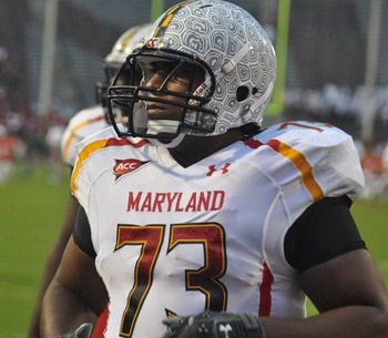 Maryland wore the tortoise shell helmets for warmups before the Miami game. Photo by Bill Bride, InsideMDSports.