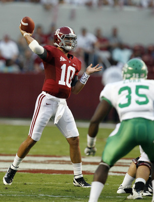 TUSCALOOSA, AL - SEPTEMBER 17:  Quarterback AJ McCarron #10 of the Alabama Crimson Tide throws to a receiver against North Texas in the first quarter on September 17, 2011 at Bryant-Denny Stadium in Tuscaloosa, Alabama. (Photo by Butch Dill/Getty Images)