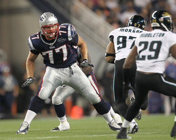 FOXBORO, MA - AUGUST 11:  Nate Solder #77 of the New England Patriots battles defends against the Jacksonville Jaguars during a preseason game at Gillette Stadium on August 11, 2011 in Foxboro, Massachusetts. (Photo by Jim Rogash/Getty Images)