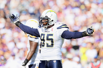 SAN DIEGO, CA - SEPTEMBER 11:  Linebacker Shaun Phillips #95 of the San Diego Chargers encourages fans to cheer against the Minnesota Vikings at Qualcomm Stadium on September 11, 2011 in San Diego, California.  (Photo by Jeff Gross/Getty Images)