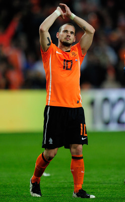AMSTERDAM, NETHERLANDS - MARCH 29:  Wesley Sneijder of the Netherlands looks on during the Group E, EURO 2012 Qualifier between Netherlands and Hungary at the Amsterdam Arena on March 29, 2011 in Amsterdam, Netherlands.  (Photo by Jamie McDonald/Getty Ima