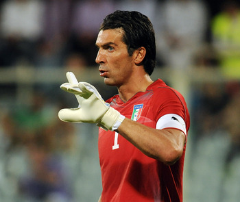 FLORENCE, ITALY - SEPTEMBER 06:  Gianluigi Buffon of Italy gestures during the UEFA EURO 2012 Group C qualifying match between Italy and Slovenia at Stadio Artemio Franchi on September 6, 2011 in Florence, Italy.  (Photo by Valerio Pennicino/Getty Images)