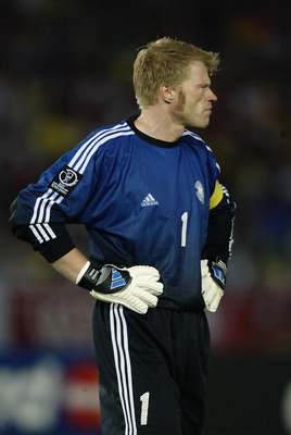 YOKOHAMA - JUNE 30:  Goalkeeper Oliver Kahn of Germany in action during the Germany v Brazil, World Cup Final match played at the International Stadium Yokohama in Yokohama, Japan on June 30, 2002. Brazil won the match 2-0. (Photo by Gary M. Prior/Getty I