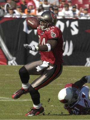 TAMPA, FL - NOVEMBER 4:  Wide receiver Joey Galloway #84 of the Tampa Bay Buccaneers rushes upfield against the Arizona Cardinals at the Raymond James Stadium  on November 4, 2007 in Tampa, Florida. The Bucs won 17 - 10. (Photo by Al Messerschmidt/Getty I