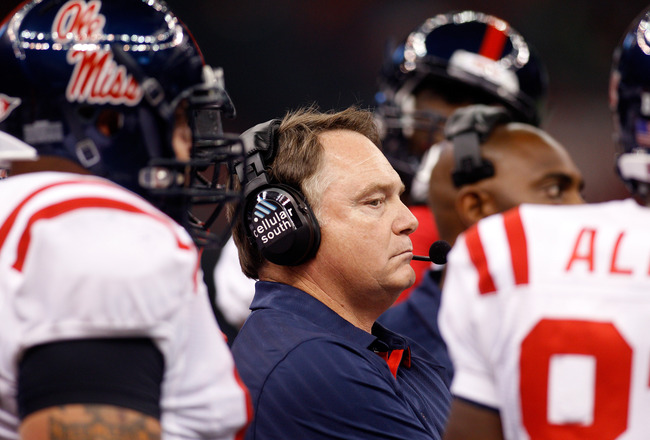 NEW ORLEANS - SEPTEMBER 11:  Head coach Houston Nutt of the Ole Miss Rebels watches a play from the sidelines during the game against the Tulane Green Wave at the Louisiana Superdome on September 11, 2010 in New Orleans, Louisiana.  (Photo by Chris Grayth