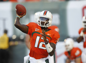 MIAMI, FL - SEPTEMBER 17: Jacory Harris #12 of the Miami Hurricanes throws the ball prior to the game against the Ohio State Buckeyes on September 17, 2011 at Sun Life Stadium in Miami, Florida. (Photo by Joel Auerbach/Getty Images)