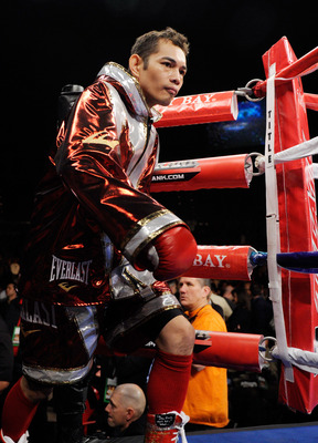 LAS VEGAS, NV - FEBRUARY 19:  Nonito Donaire of the Philippines arrives in the ring for his WBC/WBO bantamweight championship bout against Fernando Montiel of Mexico at the Mandalay Bay Events Center February 19, 2011 in Las Vegas, Nevada. Donaire won by