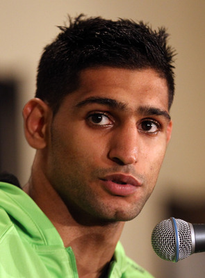 LAS VEGAS, NV - JULY 23:  Amir Khan answers questions after his fifth round knockout victory against Zab Judah in their super lightweight world championship unification bout at Mandalay Bay Events Center on July 23, 2011 in Las Vegas, Nevada.  (Photo by S