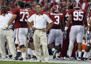 TUSCALOOSA, AL - SEPTEMBER 17:  Coach Nick Saban of the Alabama Crimson Tide watches from the sidelines as they play North Texas on September 17, 2011 at Bryant-Denny Stadium in Tuscaloosa, Alabama. (Photo by Butch Dill/Getty Images)