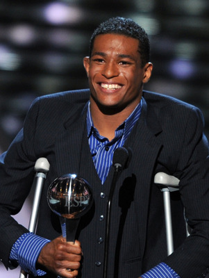 LOS ANGELES, CA - JULY 13:  Wrestler Anthony Robles accepts the Jimmy V Award for Perseverance onstage at The 2011 ESPY Awards at Nokia Theatre L.A. Live on July 13, 2011 in Los Angeles, California.  (Photo by Kevin Winter/Getty Images)