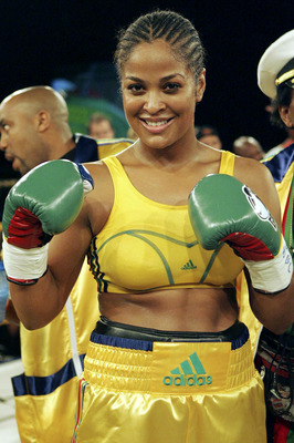 JOHANNESBURG, SOUTH AFRICA - FEBRUARY 4: Lalia Ali of USA poses after defeating Gwendolyn O'Neil of Guyana  during the WBC/WIBA Super Middleweight World Title bout between Lalia Ali and Gwendolyn O'Neil at Emperors Palace on February 4, 2007 in Johannesbu