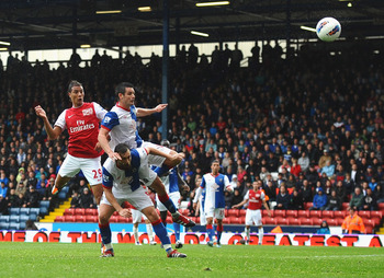 BLACKBURN, ENGLAND - SEPTEMBER 17: Marouane Chamakh of Arsenal scores the third goal during the Barclays Premier League match between Blackburn Rovers and Arsenal at Ewood Park on September 17, 2011 in Blackburn, England.  (Photo by Laurence Griffiths/Get