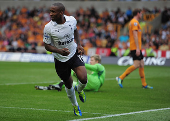 WOLVERHAMPTON, ENGLAND - SEPTEMBER 10:  Jermain Defoe of Tottenham Hotspur celebrates  his goal during the Barclays Premier League match between Wolverhampton Wanderers and Tottenham Hotspur at Molineux on September 10, 2011 in Wolverhampton, England.  (P