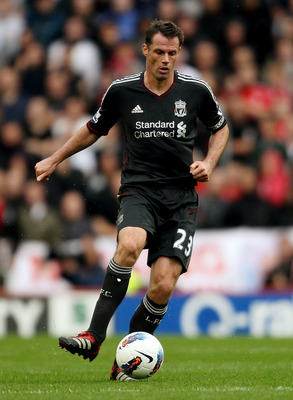 STOKE ON TRENT, ENGLAND - SEPTEMBER 10:  Jamie Carragher of Liverpool in action during the Barclays Premier League match between Stoke City and Liverpool at Britannia Stadium on September 10, 2011 in Stoke on Trent, England.  (Photo by Scott Heavey/Getty