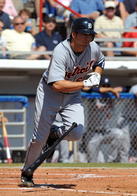 DUNEDIN, FL - FEBRUARY 27 :  Shortstop Cale Iorg of the Detroit Tigers bats against the Toronto Blue Jays February 27, 2009 at Dunedin Stadium in Dunedin, Florida.  (Photo by Al Messerschmidt/Getty Images)