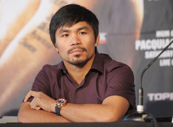 NEW YORK, NY - SEPTEMBER 06:  Professional Boxer Manny Pacquiao (pictrured) attends the press conference for his World Welterweight Championship Fight with Juan Manuel Marquez at The Lighthouse at Chelsea Piers on September 6, 2011 in New York City.  (Pho