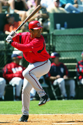 FORT LAUDERDALE, FL - MARCH 5:  Infielder Wil Cordero #25 of the Washington Nationals bats against the Baltimore Orioles during MLB Spring Training action on March 5, 2005 at Fort Lauderdale Stadium in Fort Lauderdale, Florida. The Nationals defeated the