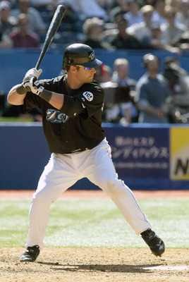 TORONTO - APRIL 19:  Shea Hillenbrand #29 of the Toronto Blue Jays bats against the New York Yankees at the Rogers Centre on April 19, 2006 in Toronto, Ontario, Canada. The Yankees defeated the Blue Jays 3-1. (Photo by Dave Sandford/Getty Images)