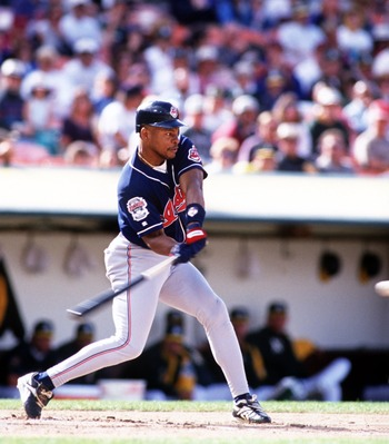 5 JUN 1994:  CLEVELAND OUTFIELDER ALBERT BELLE SWINGS AT AN OAKLAND PITCH DURING THE INDIANS 8-1 VICTORY OVER THE ATHLETICS AT THE OAKLAND COLISEUM. Mandatory Credit: Otto Greule/ALLSPORT