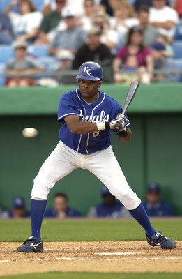 2 Mar 2002: Neifi Perez #8 of the Kansas City Royals at bat during the spring training game against the Houston Astros at Baseball City Park in Haines City, Florida. The Astros won 8-1. DIGITAL IMAGE. Mandatory Credit: M. David Leeds/Getty Images