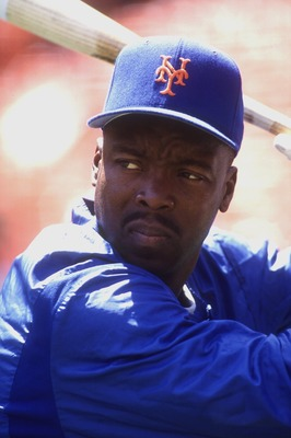 15 Jul 1993: Former New York Met''s outfielder Vince Coleman performs some batting warmups before a game against the Giants.