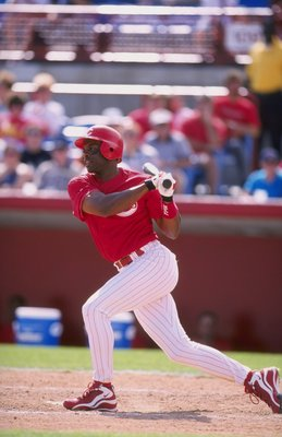 8 Mar 1998:  Outfielder Reggie Sanders of the Cincinnati Reds Short Squad in action during a spring training game against the Minnesota Twins Short Squad at the Ed Smith Stadium in Sarasota, Florida. The Reds defeated the Twins 6-4. Mandatory Credit: Davi