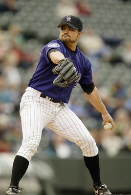 DENVER - MAY 16:  Pitcher Mike Hampton #10 of the Colorado Rockies throws a pitch during the MLB game against the Florida Marlins at Coors Field in Denver, Colorado, on May 16, 2002. The Rockies beat the Marlins 10-3.  DIGITAL IMAGE (Photo byBrian Bahr/Ge