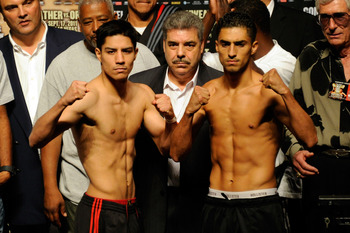 LAS VEGAS, NV - SEPTEMBER 16:  Jesse Vargas and Josesito Lopez pose after the weigh-in for their welterweight fight at the MGM Grand Garden Arena on September 16, 2011 in Las Vegas, Nevada. Floyd Mayweather Jr. and Victor Ortiz will meet in a 12-round bou