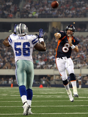 ARLINGTON, TX - AUGUST 11:  Kyle Orton #8 of the Denver Broncos throws the ball in front of Bradie James #56 of the Dallas Cowboys at Cowboys Stadium on August 11, 2011 in Arlington, Texas.  (Photo by Ronald Martinez/Getty Images)