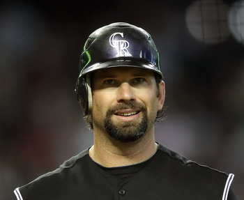 PHOENIX, AZ - JULY 24:  Todd Helton #17 of the Colorado Rockies during the Major League Baseball game against the Arizona Diamondbacks at Chase Field on July 24, 2011 in Phoenix, Arizona.  The Diamondbacks defeated the Rockies 7-0.  (Photo by Christian Pe