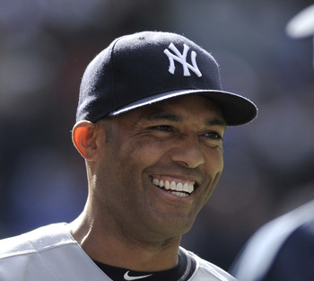 TORONTO, CANADA - SEPTEMBER 17:   Mariano Rivera #42 of the New York Yankees is all smiles after tying the all time saves record of 601 during MLB game action against the Toronto Blue Jays September 17, 2011 at Rogers Centre in Toronto, Ontario, Canada. (