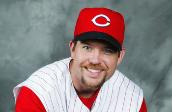 SARASOTA,  FL- FEBRUARY 26: Sean Casey #21 of the Cincinnati Reds poses for a portrait during the Red's Photo Day at their spring training facility on February 26, 2004 in Sarasota, Florida. (Photo by Jed Jacobsohn/Getty Images)