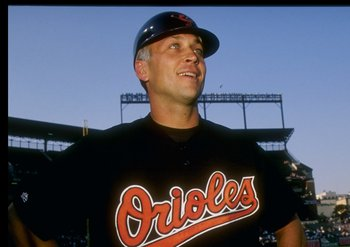 6 Sep 1995:  Shortstop Cal Ripken Jr. of the Baltimore Orioles looks on during a game against the California Angels at Camden Yards in Baltimore, Maryland during which he broke Lou Gehrig''s record for consecutive games played.  The Orioles won the game 4