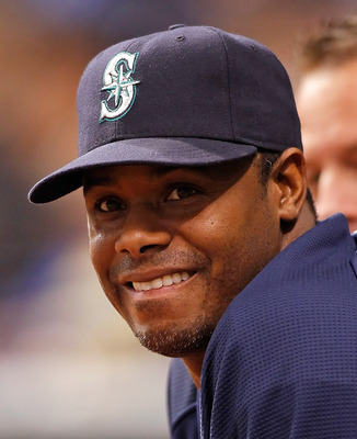 ST PETERSBURG, FL - MAY 14:  Outfielder Ken Griffey Jr. #24 of the Seattle Mariners watches his team against the Tampa Bay Rays during the game at Tropicana Field on May 14, 2010 in St. Petersburg, Florida.  (Photo by J. Meric/Getty Images)