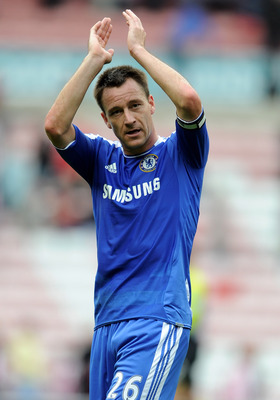 SUNDERLAND, ENGLAND - SEPTEMBER 10:  John Terry of Chelsea applauds the fans at the end of the Barclays Premier League match between Sunderland and Chelsea at the Stadium of Light on September 10, 2011 in Sunderland, England.  (Photo by Michael Regan/Gett