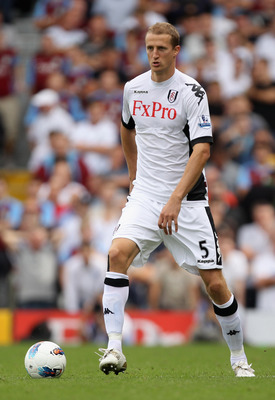 LONDON, ENGLAND - AUGUST 13:  Brede Hangeland of Fulham in action during the Barclays Premier League match between Fulham and Aston Villa at Craven Cottage on August 13, 2011 in London, England.  (Photo by Ian Walton/Getty Images)