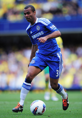 LONDON, ENGLAND - AUGUST 27: Ashley Cole of Chelsea in action during the Barclays Premier League match between Chelsea and Norwich City at Stamford Bridge on August 27, 2011 in London, England.  (Photo by Shaun Botterill/Getty Images)