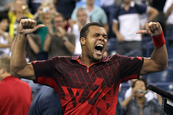 NEW YORK, NY - SEPTEMBER 05:  Jo-Wilfried Tsonga of France celebrates after defeating Mardy Fish of the United States during Day Eight of the 2011 US Open at the USTA Billie Jean King National Tennis Center on September 5, 2011 in the Flushing neighborhoo