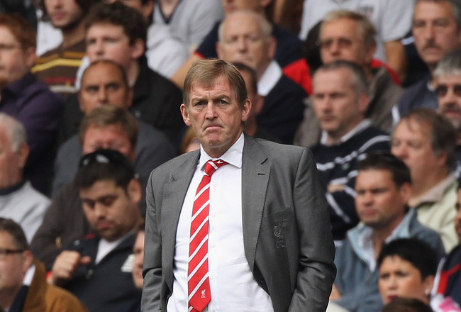 LONDON, ENGLAND - SEPTEMBER 18:  Liverpool manager Kenny Dalglish looks thoughtful during the Barclays Premier League match between Tottenham Hotspur and Liverpool at White Hart Lane on September 18, 2011 in London, England.  (Photo by Clive Rose/Getty Im